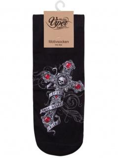 Sneaker Socken bedruckt Kreuz