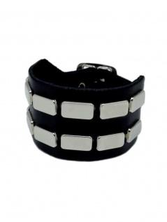 Leder Armband Flach Nieten 2 reihig