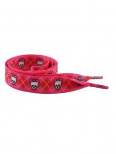 Schnürsenkel Skull Girl rosa und rot breit
