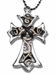 Halskette Kreuz mit Ledereinsatz Tribals