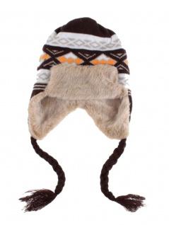 Tschapka Wintermütze mit Kunstfell gemustert