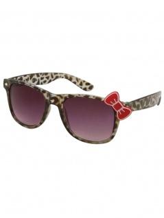 Sonnenbrille 50er Style Leopard grau mit Schleife