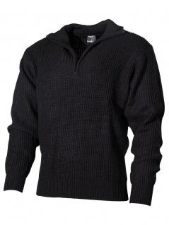 Isländer Pullover schwarz mit Reißverschluss