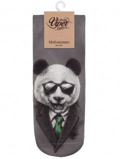 Sneaker Socken bedruckt Panda in Black - Vorschau 1