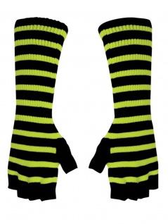 Fingerlose Stulpenhandschuhe gelb neon Streifen