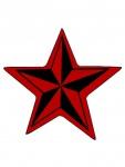 Aufnäher Stern rot schwarz