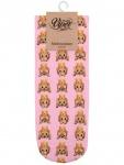 Sneaker Socken bedruckt Emoji pink