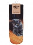 Sneaker Socken bedruckt schwarze Katze