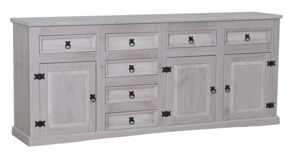Sideboard New Mexiko Kiefer massiv grau Mexico Schubladen Kommode Schrank