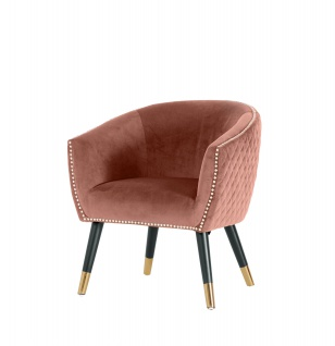 Velours Sessel Niles rosa Relaxsessel Polstersessel Clubsessel Vintage Lounge