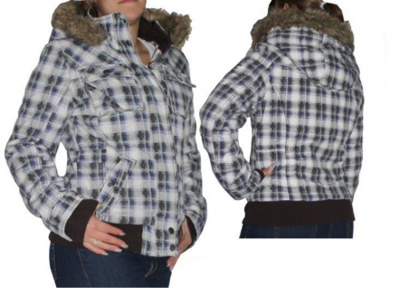 Fresh Made Damen Winterjacke Gr XS-XL Winter Jacke Kurzjacke Parka kariert