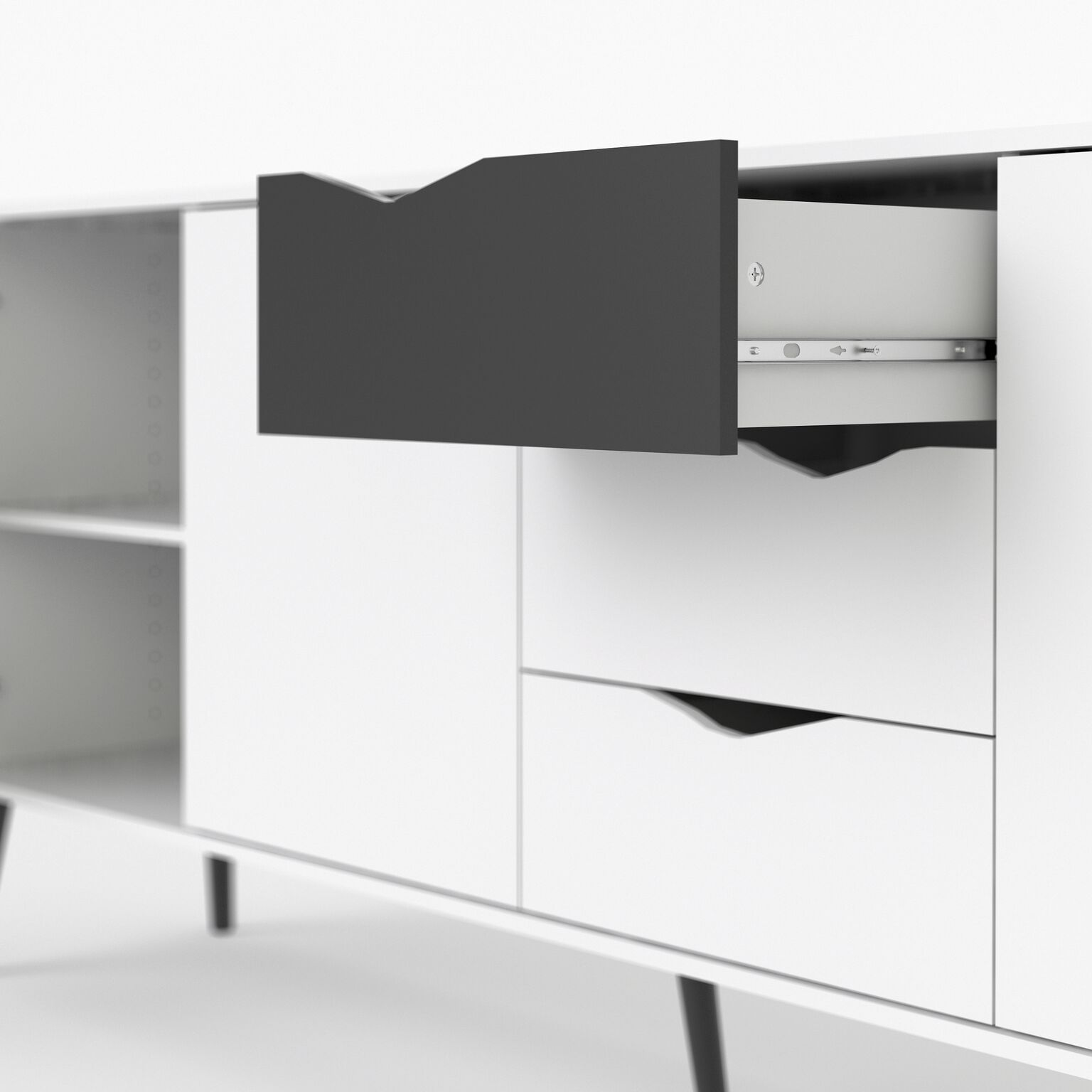 sideboard napoli kommode anrichte schrank highboard schwarz wei kaufen bei dtg dynamic trade gmbh. Black Bedroom Furniture Sets. Home Design Ideas