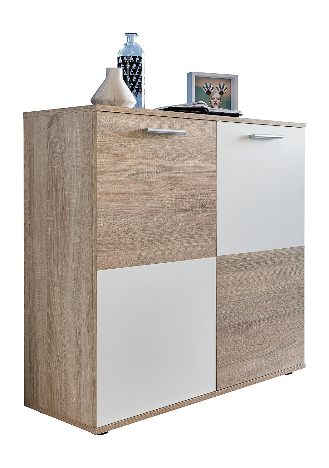 Kommode Compare Eiche Sagerau Hell Weiss Sideboard Lowboard Highboard