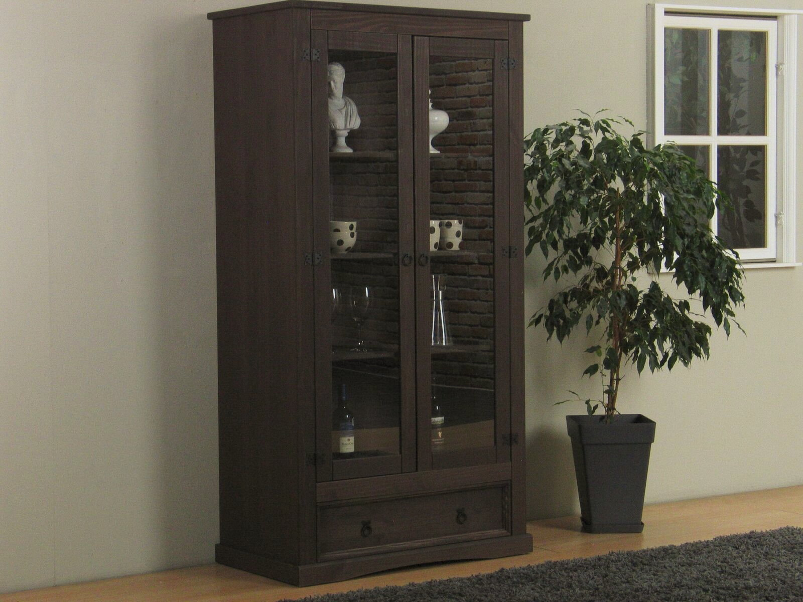 vitrinenschrank new mexico kiefer massiv kolonial vitrine. Black Bedroom Furniture Sets. Home Design Ideas