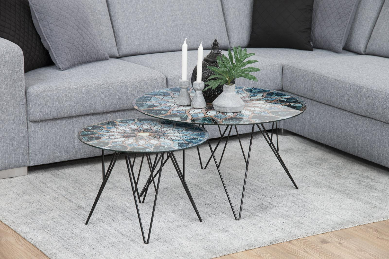 pkline couchtisch plymoth aus glas mit mosaikprint. Black Bedroom Furniture Sets. Home Design Ideas