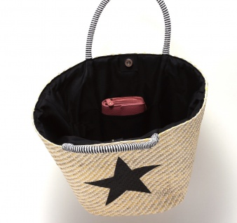 Strohtasche Flechttasche Shopping Beach Bag Badetasche braun Applikation Stern 3