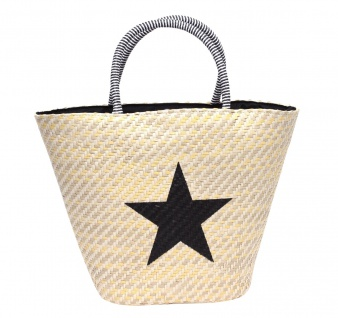 Strohtasche Flechttasche Shopping Beach Bag Badetasche braun Applikation Stern 1