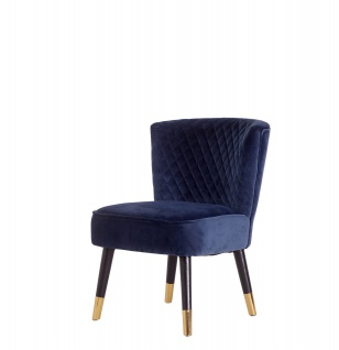 Velours Sessel Grit blau Relaxsessel Polstersessel Clubsessel Vintage Lounge