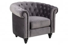 PKline Sessel CHARLIE in grau Chesterfield Design Clubsessel Fernsehsessel