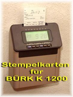 Stempelkarten für BÜRK K 1200