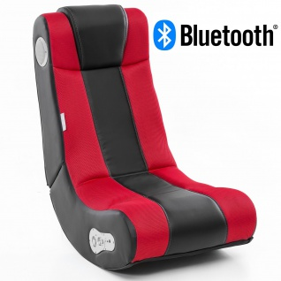 WOHNLING® Soundchair InGamer in Schwarz Rot mit Bluetooth | Musiksessel mit eingebauten Lautsprechern | Multimediasessel für Gamer | 2.1 Soundsystem - Subwoofer | Music Gaming Sessel Rocker Chair