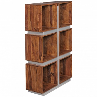 FineBuy Bücherregal Massivholz 135 x 85 x 30 cm Design Raumteiler hohes Regal Holz Landhaus-Stil Regalsystem 5