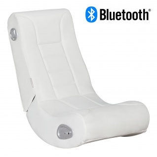 WOHNLING® Soundchair LevelOne Weiß mit Bluetooth | Musiksessel mit eingebauten Lautsprechern | Multimediasessel für Gamer | Musiksessel 2.1 Soundsystem - Subwoofer | Music Gaming Rocker