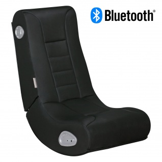 WOHNLING® Soundchair LevelOne Schwarz mit Bluetooth | Musiksessel mit eingebauten Lautsprechern | Multimediasessel für Gamer | Musiksessel 2.1 Soundsystem - Subwoofer | Music Gaming Rocker