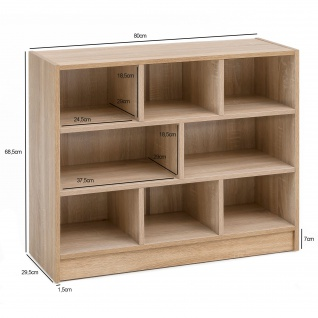 FineBuy Bücherregal SV51829 80 x 68, 5 x 29, 5 cm Regal Standregal modern | Flurregal Schuhregal schmal | Design Dekoregal Holz | Holzregal mit Fächern | Ablageregal Wohnzimmer Abstellraum - Vorschau 4