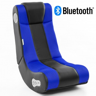 WOHNLING® Soundchair InGamer in Schwarz Blau mit Bluetooth | Musiksessel mit eingebauten Lautsprechern | Multimediasessel für Gamer | 2.1 Soundsystem - Subwoofer | Music Gaming Sessel Rocker Chair