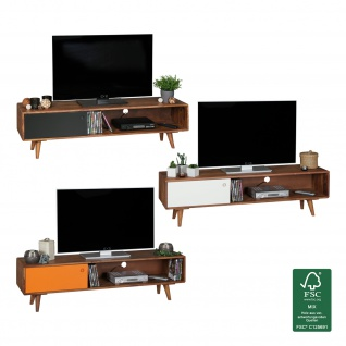 FineBuy TV Lowboard Sheesham Massivholz mit 1 Tür 140 x 40 x 35 cm | TV Hifi Regal im Retro-Design | Fernsehschrank TV-Board in dunkelbraun / orange