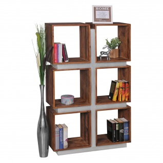 FineBuy Bücherregal Massivholz 135 x 85 x 30 cm Design Raumteiler hohes Regal Holz Landhaus-Stil Regalsystem 3