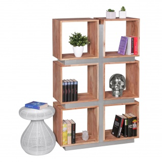 FineBuy Bücherregal Massivholz 135 x 85 x 30 cm Design Raumteiler hohes Regal Holz Landhaus-Stil Regalsystem 2
