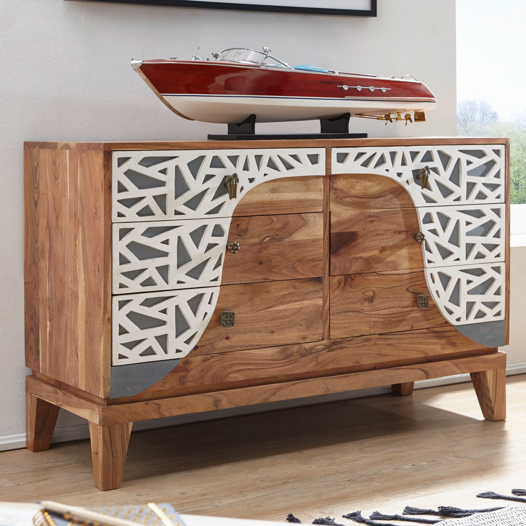 finebuy sideboard anja 115x75x45 cm akazie massivholz landhaus holzschrank kleiner schrank. Black Bedroom Furniture Sets. Home Design Ideas