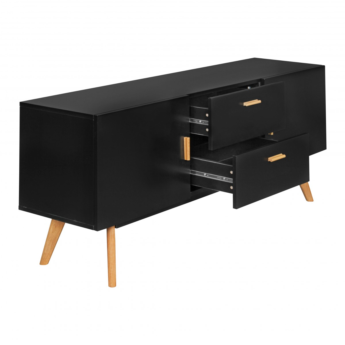 wohnling retro sideboard scanio mdf holz schwarz 2. Black Bedroom Furniture Sets. Home Design Ideas