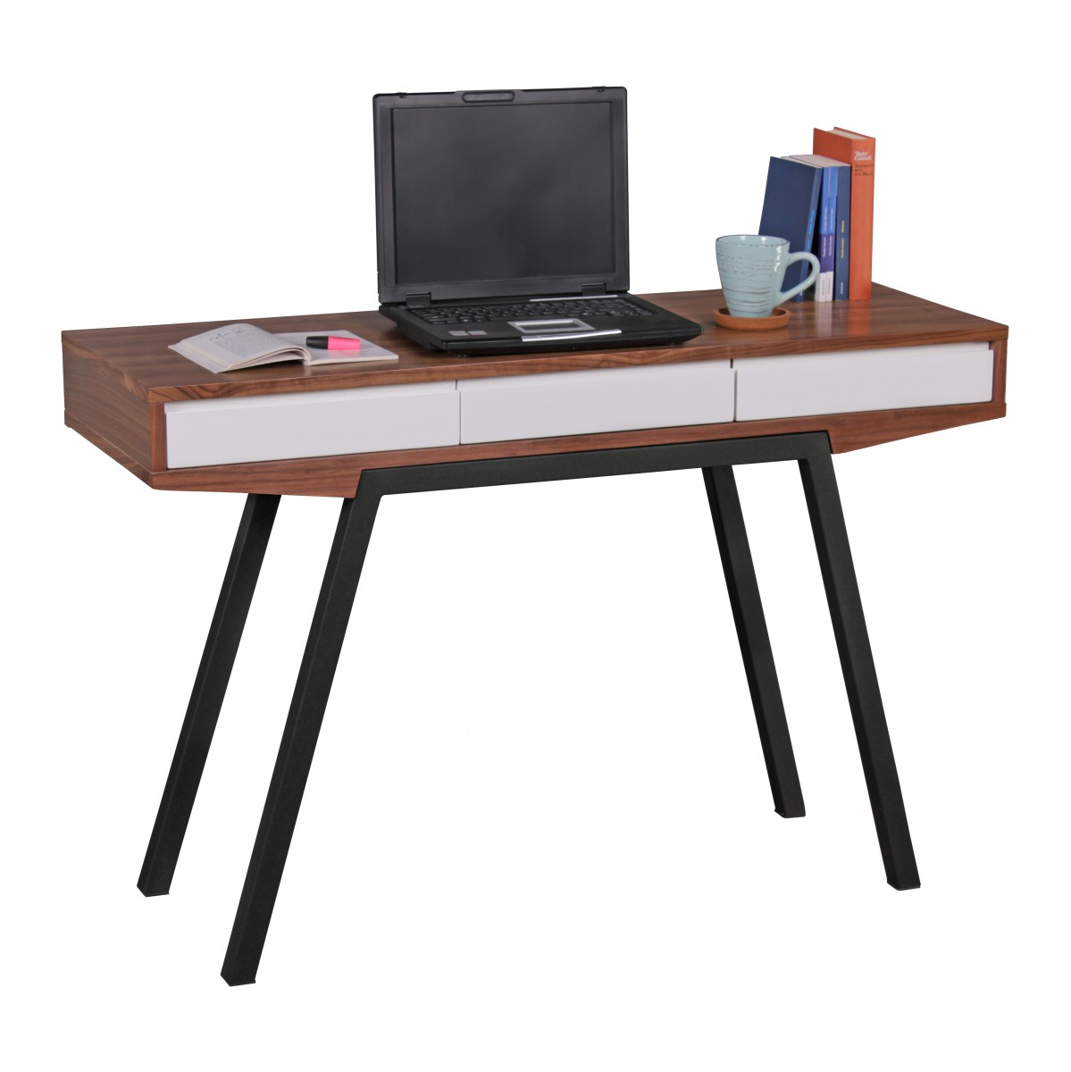 wohnling schreibtisch retro berry walnuss wei 3 schubladen 120 x 80 x 40 cm laptoptisch mit. Black Bedroom Furniture Sets. Home Design Ideas