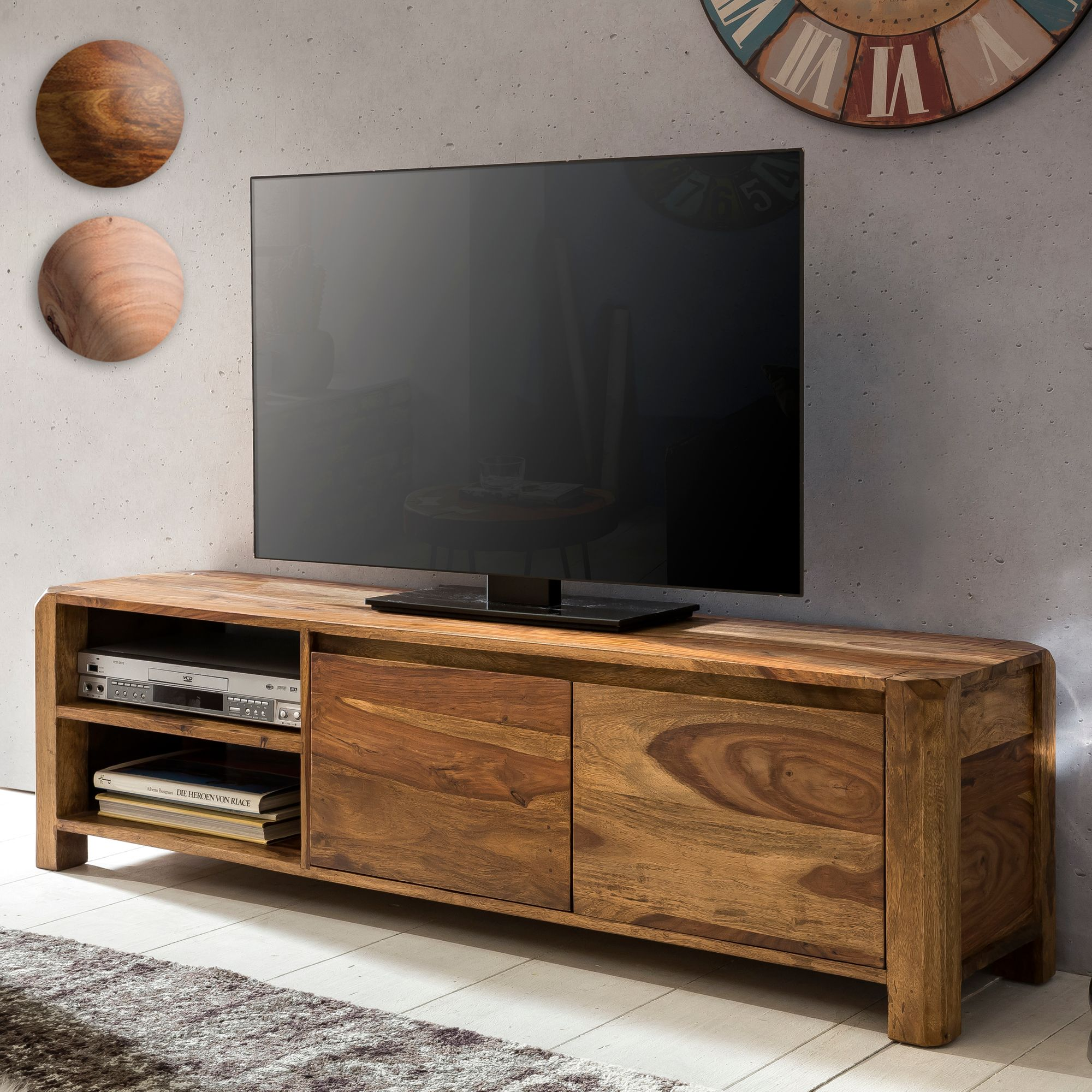 Finebuy Lowboard Massivholz Kommode 140 Cm Tv Board Ablage Facher
