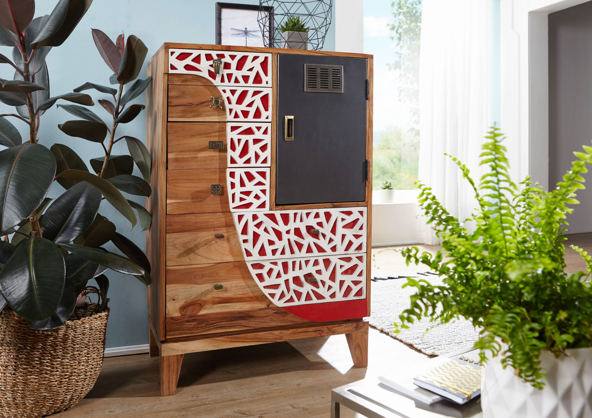 wohnling highboard anju 75x120x45 cm akazie massivholz landhaus holzschrank kleiner schrank. Black Bedroom Furniture Sets. Home Design Ideas