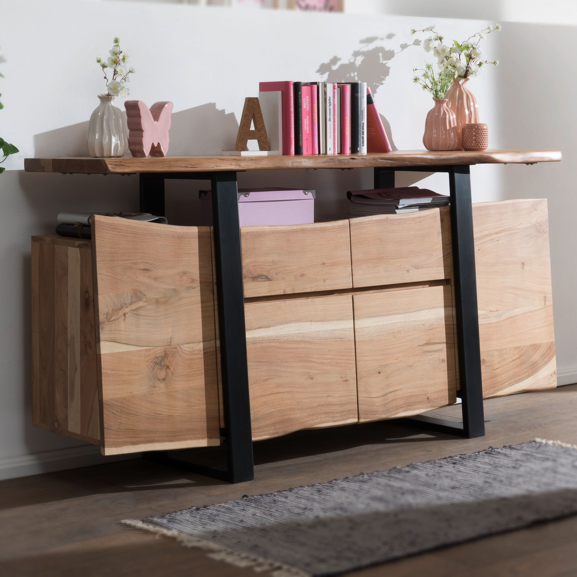 Finebuy Sideboard Akazie Kommode Massiv Holz 175x90x44cm Highboard