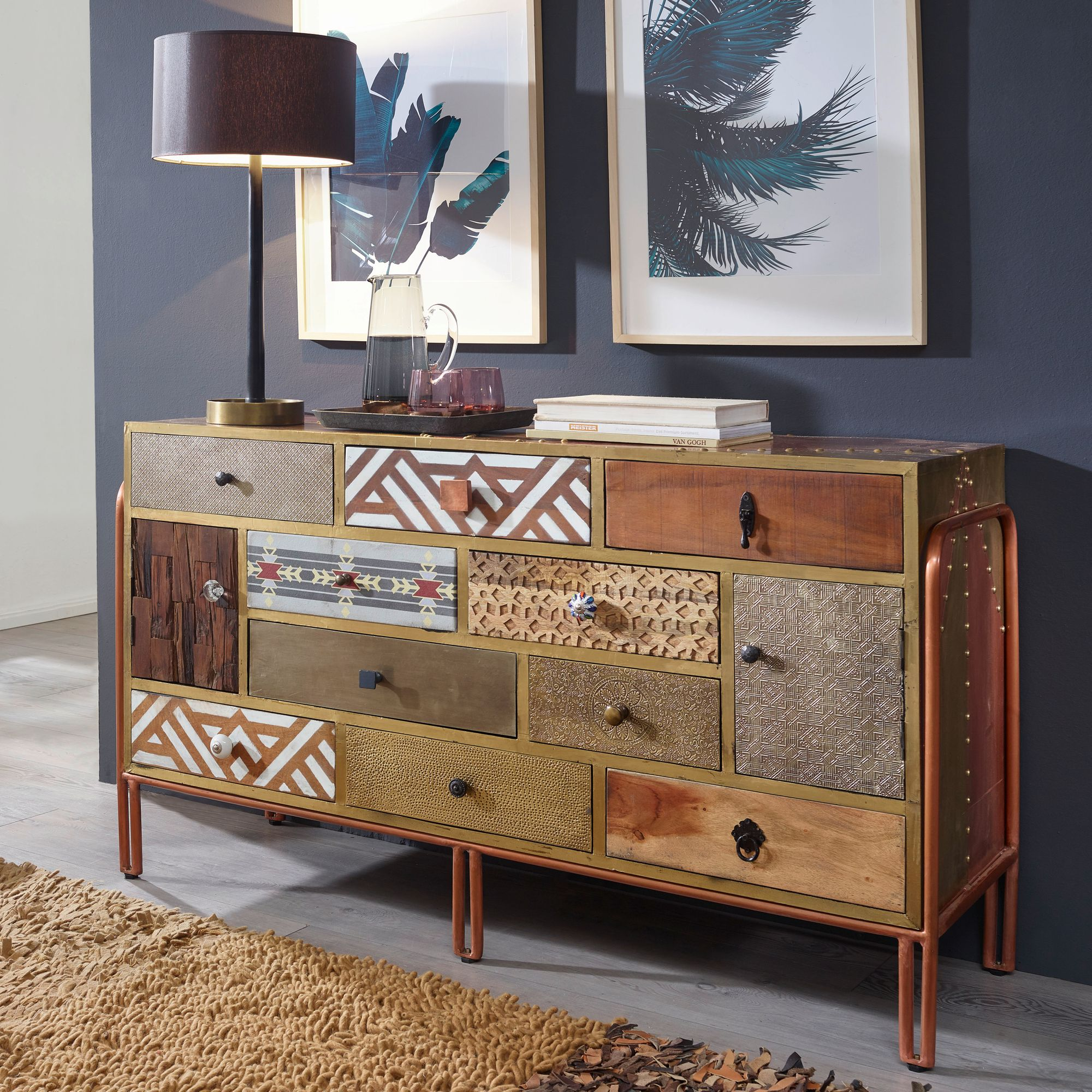 WOHNLING Sideboard FITTED 140x45x80 cm Metall Retro Anrichte Bunt ...