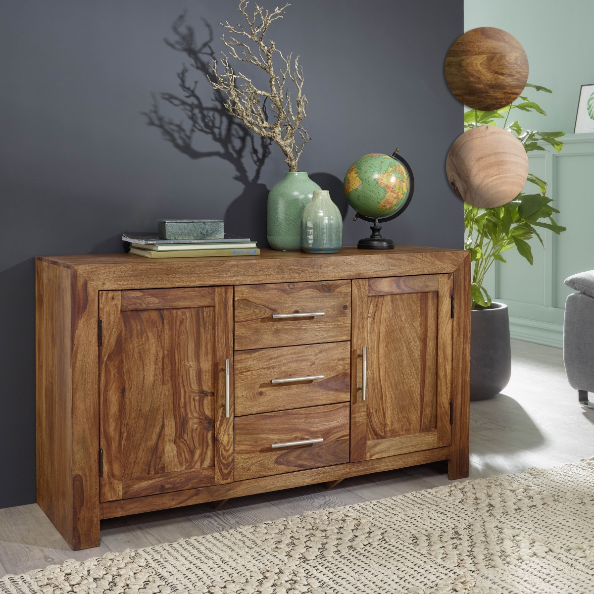 kommode mit schubladen und tren trendy wohnling sideboard mumbai massivholz akazie kommode cm. Black Bedroom Furniture Sets. Home Design Ideas
