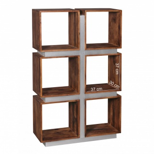 FineBuy Bücherregal Massivholz 135 x 85 x 30 cm Design Raumteiler hohes Regal Holz Landhaus-Stil Regalsystem 4