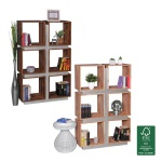 FineBuy Bücherregal Massivholz 135 x 85 x 30 cm Design Raumteiler hohes Regal Holz Landhaus-Stil Regalsystem