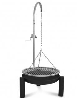 LIBATHERM Schwenkgrill, 0 Euro Versandkosten, Feuerschale 70 cm Durchm., Edelstahl-Grillrost 60 cm durchm., Edelstahl Grillgalgen mit Beleuchtung