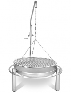 LIBATHERM Schwenkgrill, 0 Euro Versandkosten, kompl. Edelstahl V2A, Feuerschale 80 cm Durchm., Grillrost 80 cm Durchm. mit einzeln entnehmbaren Stäbe und Beleuchtung