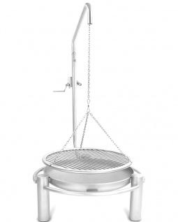 LIBATHERM Schwenkgrill, 0 Euro Versandkosten, komplett Edelstahl V2A, Feuerschale 60 cm Durchm., Edelstahl Grillrost 60 cm Durchm. mit einzeln entnehmbaren 8 mm Stäben und Beleuchtung des Grillrostes