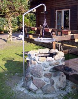 LIBATHERM Grillgalgen, 0 Euro Versandkosten, Grillgalgen-Komplett-Set, Auslegerweite 50 cm, Edelstahl-Grillrost 50 cm Durchm. mit entnehmbaren 8 mm Stäben + Bodenrohr - Vorschau 3