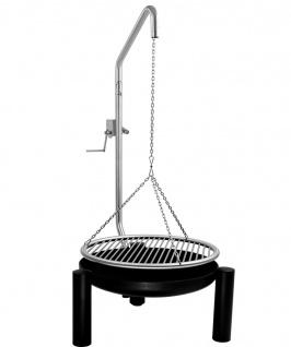 LIBATHERM Schwenkgrill, 0 Euro Versandkosten, Feuerschale 50 cm Durchm., Edelstahl Grillrost 50 cm Durchm., Grillgalgen mit Beleuchtung