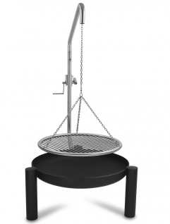 LIBATHERM Schwenkgrill, 0 Euro Versandkosten, Feuerschale 70 cm Durchm., Grillrost 60 cm Durchm., komplett aus Edelstahl 8 mm Stabstärke