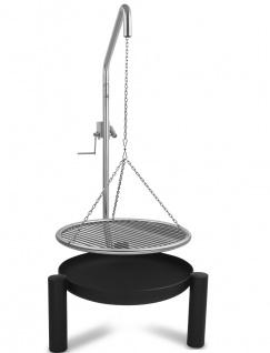 LIBATHERM Schwenkgrill, 0 Euro Versandkosten, 60 cm Durchm., Edelstahl-Grillrost, Holzkohlegrill mit Beleuchtung